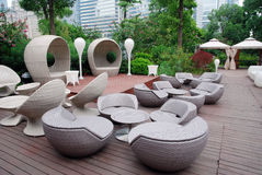 Outdoor restaurants. With rattan chairs Stock Images