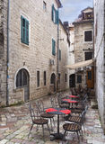 Outdoor Resturant Tables After the Rain Kotor, Montenegro Stock Image