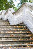 Outdoor retro style stairs with ornate railing Royalty Free Stock Photo