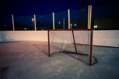 Outdoor rink hockey net Stock Images