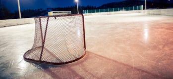 Outdoor rink hockey net Stock Photo