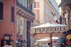 Outdoor of Rome. Pizzeria restaurant in outdoor of Rome Stock Photos