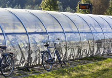 Outdoor roofed bicycle storage Royalty Free Stock Photos