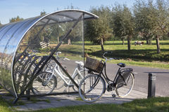 Outdoor roofed bicycle storage Stock Image