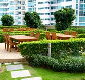 Outdoor rooftop patio Stock Images