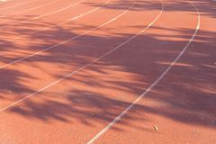 Outdoor Runner track on soccer field. At thailand Stock Photo