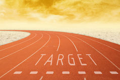 Outdoor running track with sign target with desert at sunset Royalty Free Stock Photo