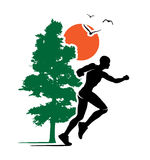 Outdoor Running Trail Runner Nature Logo Illustration Stock Photos