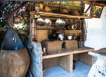 A Outdoor Rural Kitchen. In Ubud, Bali Stock Photos