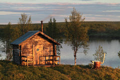Outdoor sauna. Traditional finnish wooden outdoor sauna Stock Photo