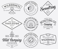 Outdoor scouting black on white. Scouting  badges and labels for any use Royalty Free Stock Photo