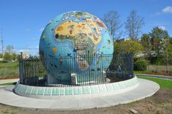 Eco-Earth Globe in Salem, Oregon Image 2. This is an outdoor sculpture depicting a globe, located in Riverfront Park in Salem, Oregon, in the United States. The Royalty Free Stock Image