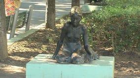 Outdoor sculptures in Varna, Bulgaria stock video