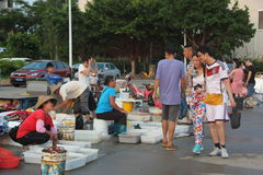 The outdoor seafood market in shekou fishing port Stock Photos