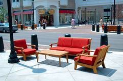 Outdoor seating area. Image of outdoor seating in a shopping area Stock Image