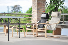 Outdoor seating. Area with Rattan sofa Royalty Free Stock Photos