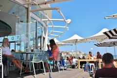 Outdoor seating at Bondi Beach, Sydney Royalty Free Stock Images