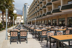 Outdoor seating in empty hotel Royalty Free Stock Photography
