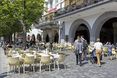 Outdoor seating restaurant in Lucerne Royalty Free Stock Photos