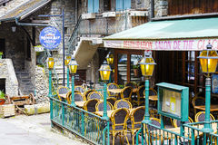 Outdoor seating restaurant in Yvoire Stock Image