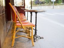 Outdoor seating restaurants with street view Stock Photos