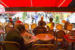 Outdoor Seating under awning at caf�, Paris, France Stock Photo