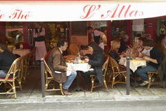 Outdoor Seating under awning at caf�, Paris, France Royalty Free Stock Photo