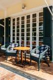 Outdoor Seats Cafe at Luang Prabang, Laos Stock Photo