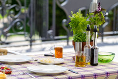 Outdoor set table  Royalty Free Stock Photography