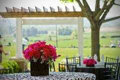 Outdoor setting. An outdoor cafe setting with a flower arrangement and green fields in the background Royalty Free Stock Images