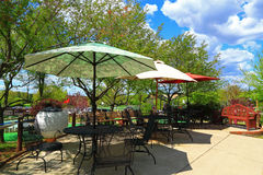 Outdoor umbrellas Tables Royalty Free Stock Photos