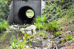 Outdoor sewage drainage system. In countryside royalty free stock photography