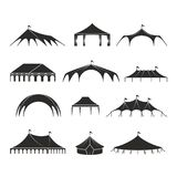 Outdoor shelter tent, event pavilion tents vector icons. Shelter black silhouette, marquee and pavilion canvas illustration stock illustration