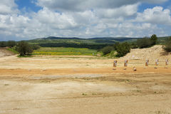 Outdoor shooting range, IDF soldiers training zone, targets, nature background Royalty Free Stock Photo