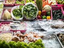 Outdoor shop selling seafood ,vegetables Stock Photo