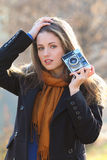 Outdoor shot of a beautiful girl in fashion pose Royalty Free Stock Image