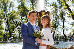 Outdoor shot of bride and groom standing near fountain in park Royalty Free Stock Photography
