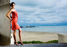 Outdoor shot of fashion model Royalty Free Stock Photos