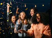 Outdoor shot of group friends Royalty Free Stock Image