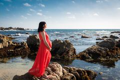 Outdoor shot of young pregnant woman in red dress Stock Photos