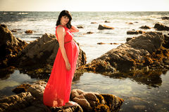 Outdoor shot of young pregnant woman in red dress Stock Photography