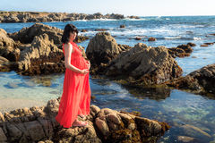 Outdoor shot of young pregnant woman in red dress Royalty Free Stock Images