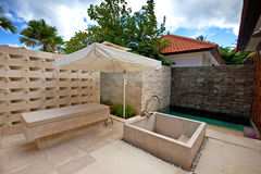 Outdoor shower area for spa in the tropics royalty free stock photography