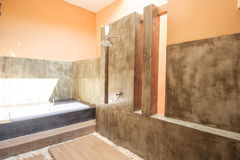 Outdoor shower area for spa in the tropics Stock Images