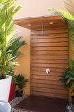 Outdoor shower in tropical setting royalty free stock photos