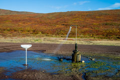 Outdoor shower. Works all year with geothermal water in Iceland Royalty Free Stock Photo