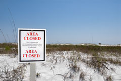 Outdoor sign protecting an environmentally sensitive area at Flo. Outdoor sign protecting the white sand dunes and sea oats at Camp Helen State Park in Panama Stock Photography