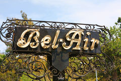 Outdoor sign stating Bel-Air in California. A rustic looking, historic sign in Bel-Air, California, where famous movie stars reside Stock Image