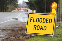 Outdoor Sign Stating Flooded Road Stock Image