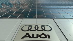 Signage board with Audi logo. Modern office building facade time lapse. Editorial 3D rendering